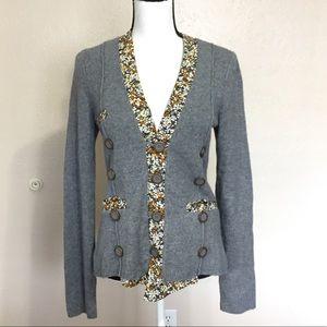 Anthro Cartonnier Grey Floral Cardigan